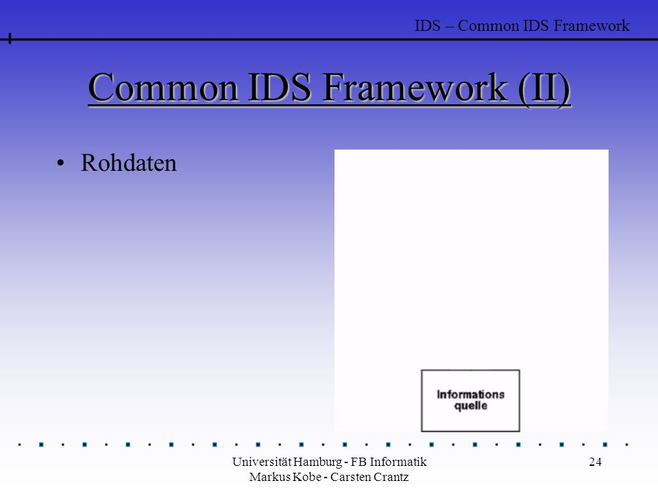 Common IDS Framework (II)