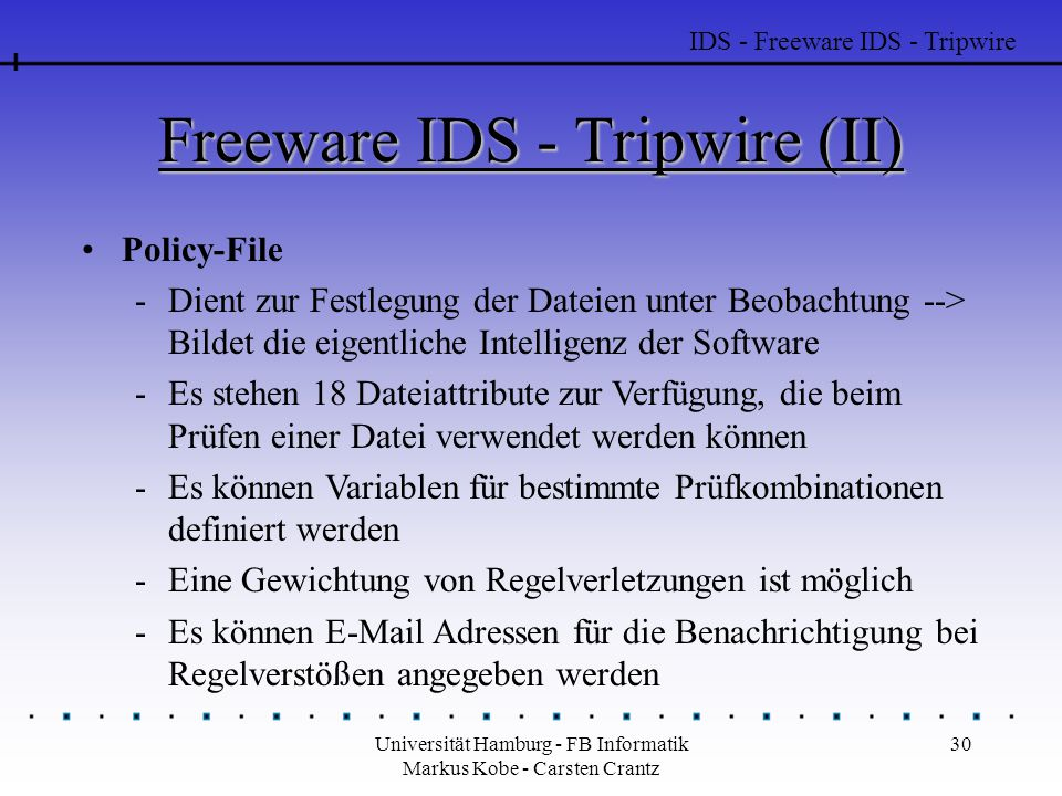 Freeware IDS - Tripwire (II)