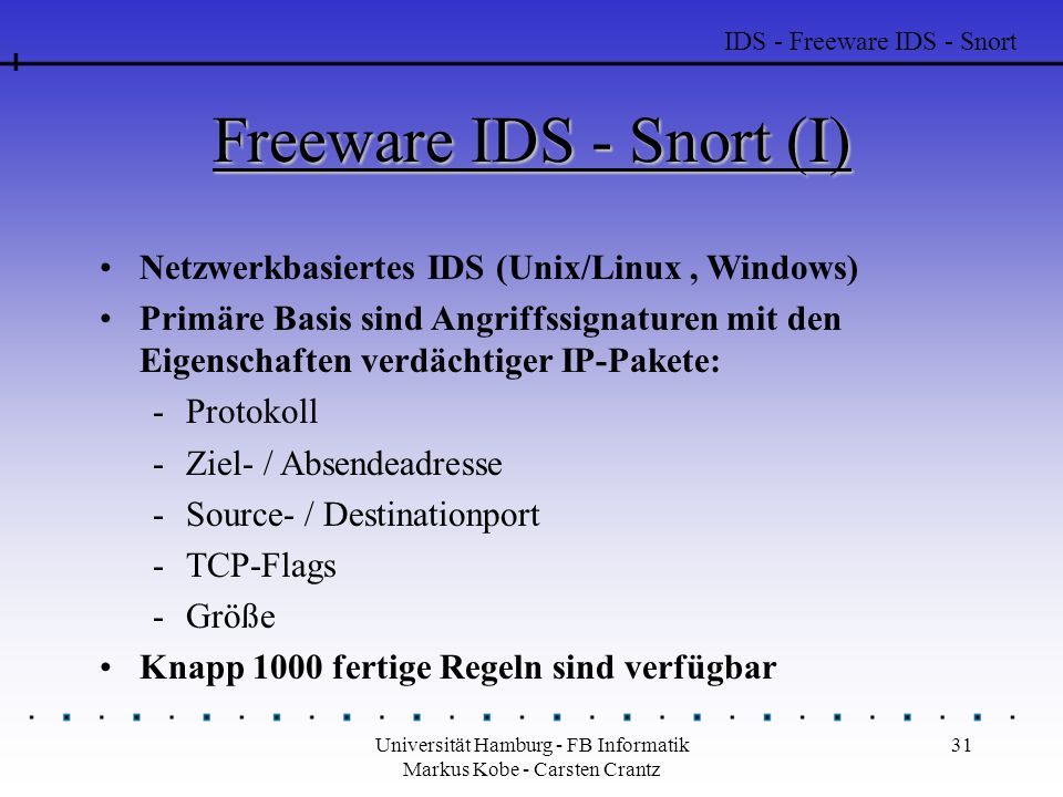 Freeware IDS - Snort (I)