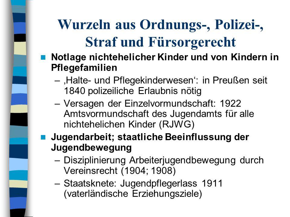 Wurzeln aus Ordnungs-, Polizei-, Straf und Fürsorgerecht