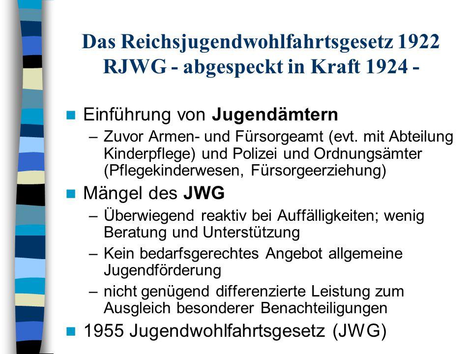 Das Reichsjugendwohlfahrtsgesetz 1922 RJWG - abgespeckt in Kraft 1924 -