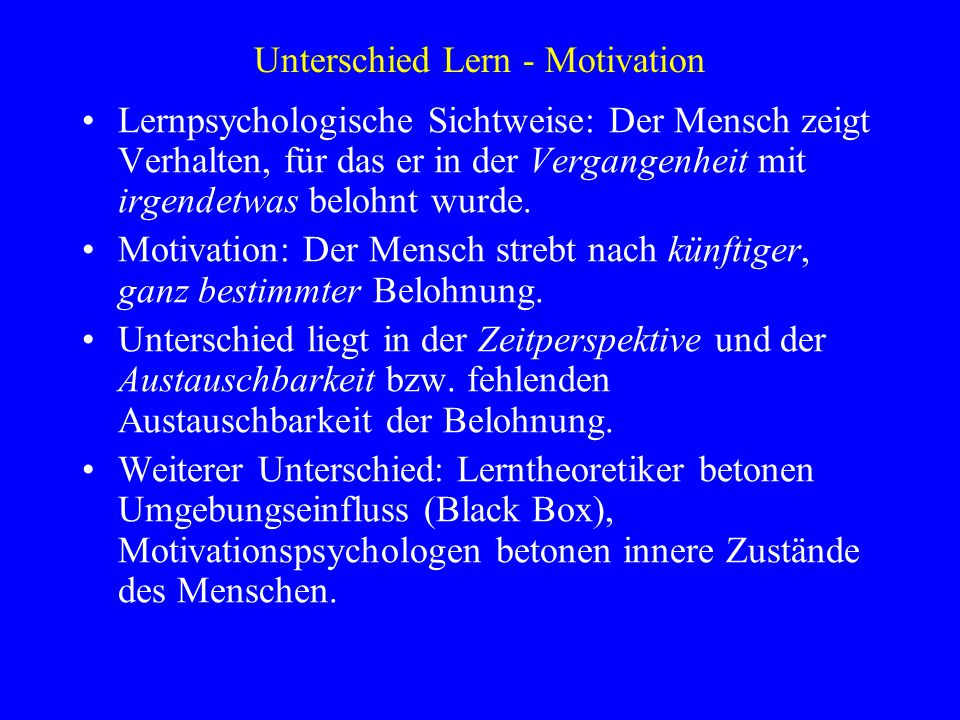 Unterschied Lern - Motivation