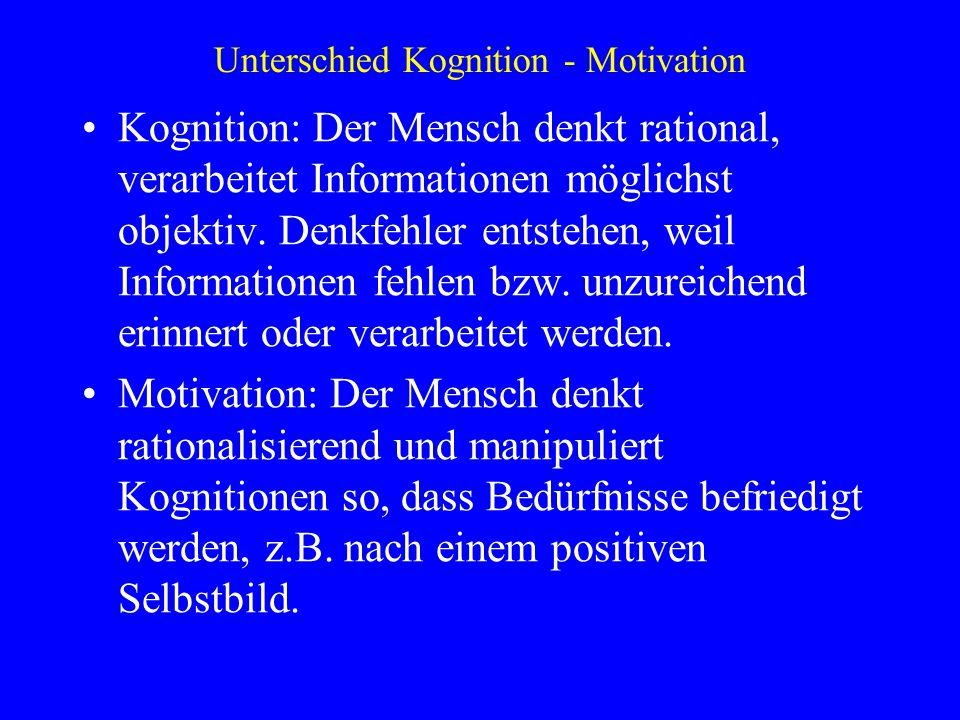 Unterschied Kognition - Motivation