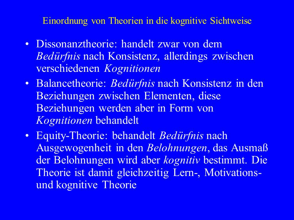 Einordnung von Theorien in die kognitive Sichtweise