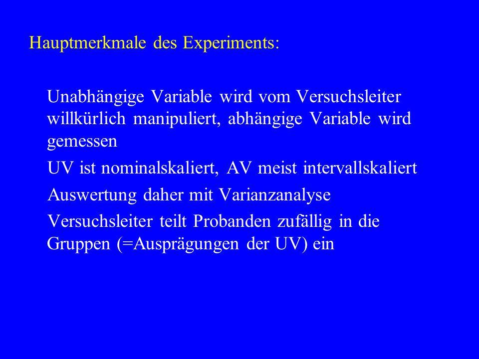 Hauptmerkmale des Experiments: