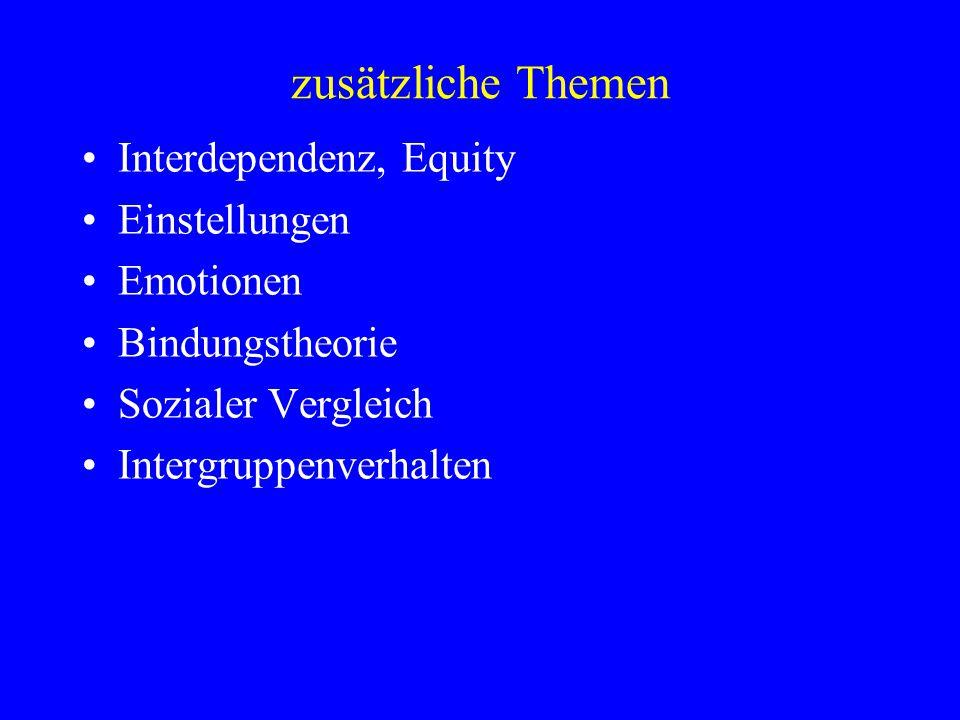 zusätzliche Themen Interdependenz, Equity Einstellungen Emotionen