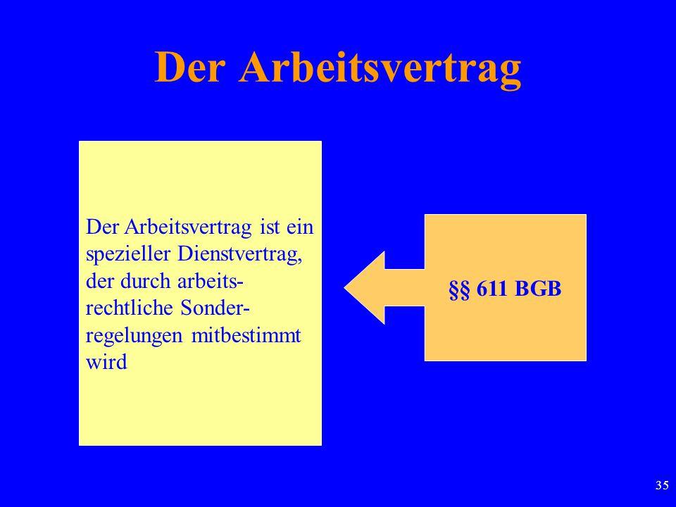 Der Arbeitsvertrag Der Arbeitsvertrag ist ein spezieller Dienstvertrag, der durch arbeits- rechtliche Sonder- regelungen mitbestimmt wird.