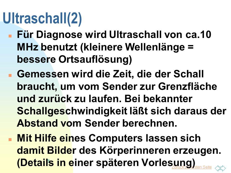 Ultraschall(2) Für Diagnose wird Ultraschall von ca.10 MHz benutzt (kleinere Wellenlänge = bessere Ortsauflösung)