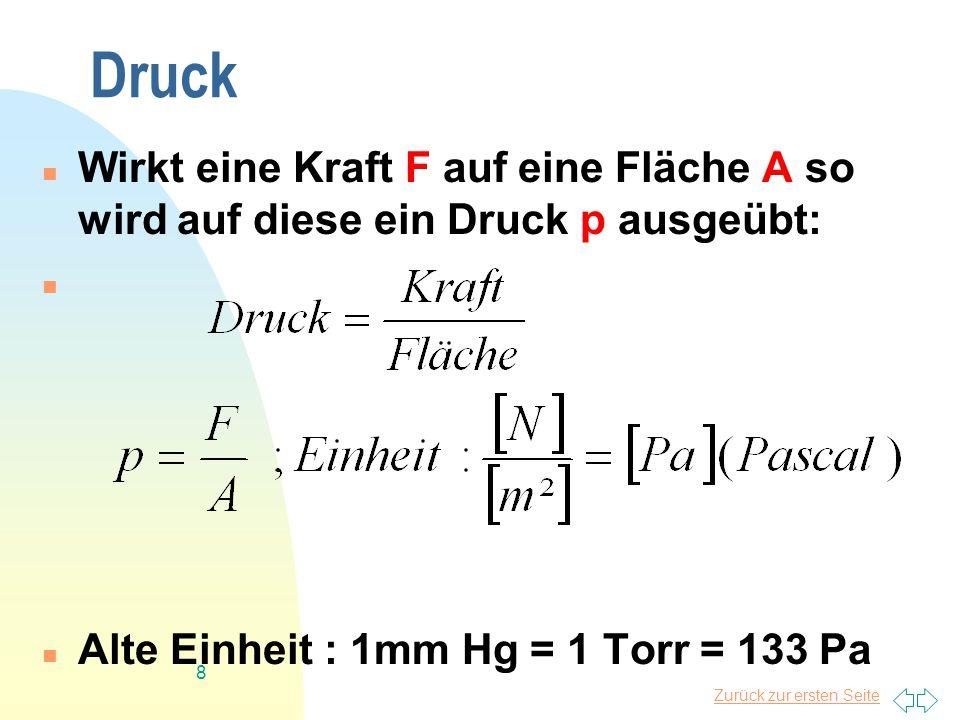 Druck Wirkt eine Kraft F auf eine Fläche A so wird auf diese ein Druck p ausgeübt: Alte Einheit : 1mm Hg = 1 Torr = 133 Pa.