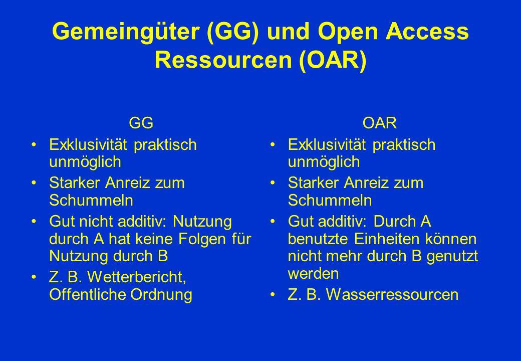 Gemeingüter (GG) und Open Access Ressourcen (OAR)