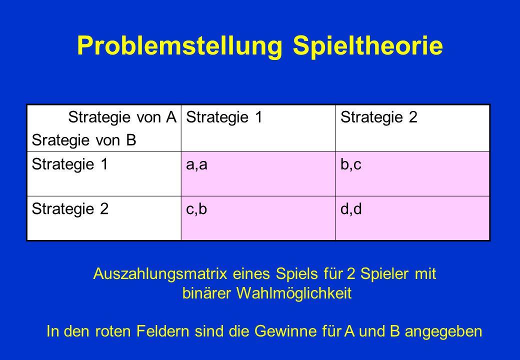 Problemstellung Spieltheorie