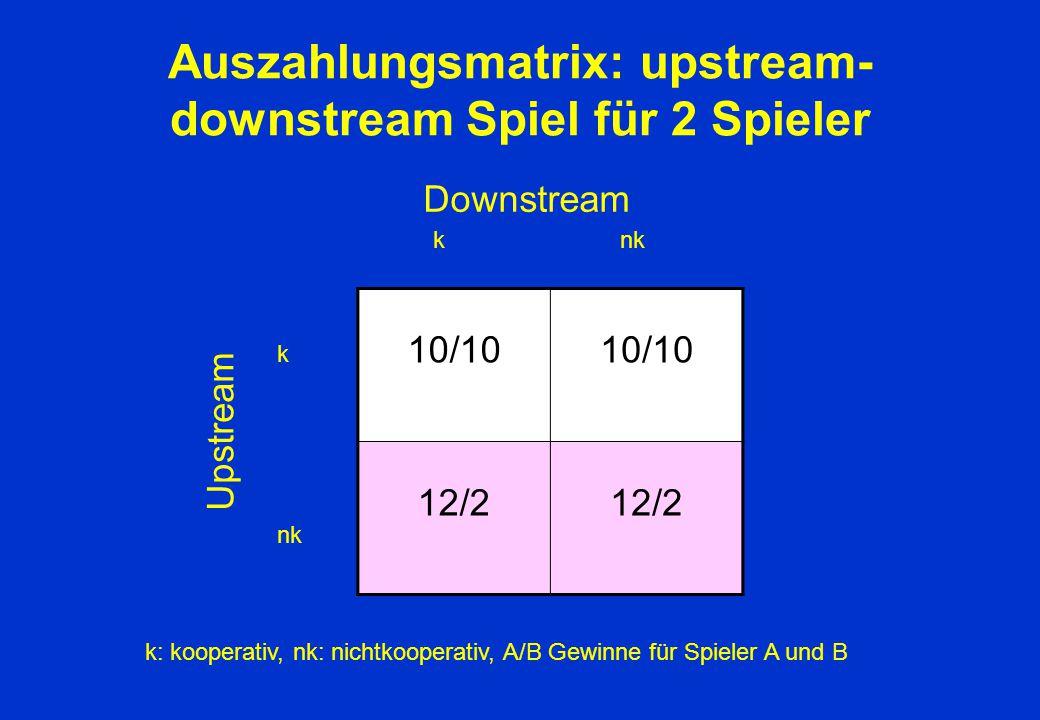 Auszahlungsmatrix: upstream-downstream Spiel für 2 Spieler