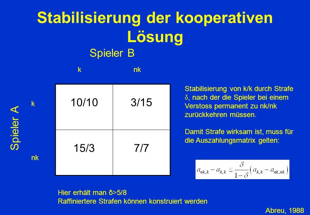 Stabilisierung der kooperativen Lösung