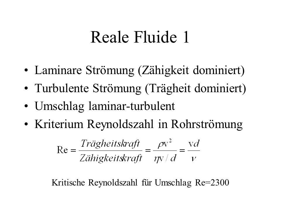 Reale Fluide 1 Laminare Strömung (Zähigkeit dominiert)