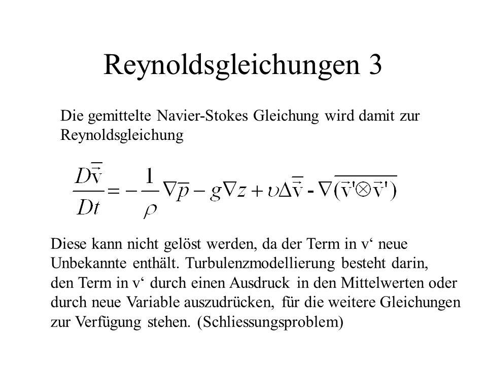 Reynoldsgleichungen 3 Die gemittelte Navier-Stokes Gleichung wird damit zur. Reynoldsgleichung.