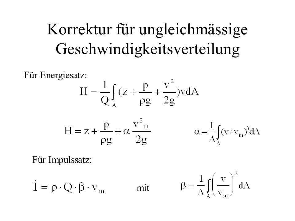 Korrektur für ungleichmässige Geschwindigkeitsverteilung