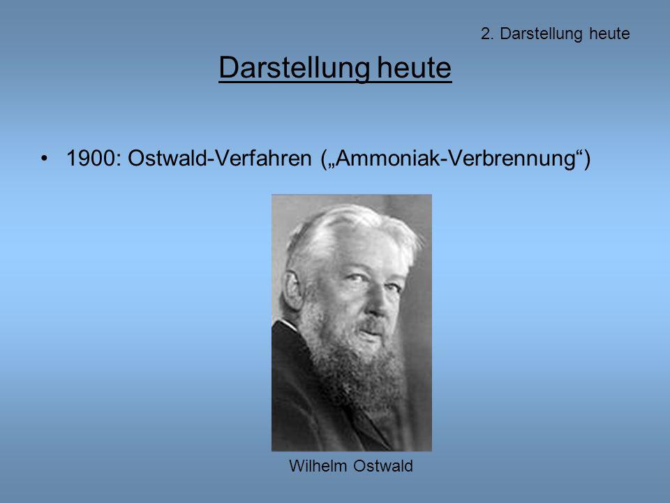 """Darstellung heute 1900: Ostwald-Verfahren (""""Ammoniak-Verbrennung )"""