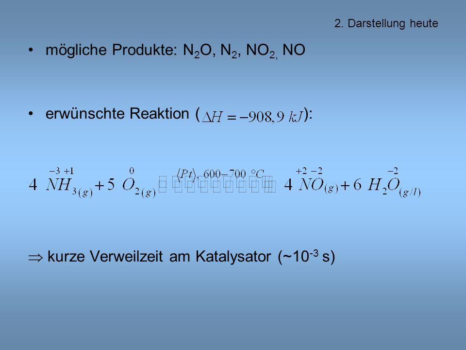 mögliche Produkte: N2O, N2, NO2, NO