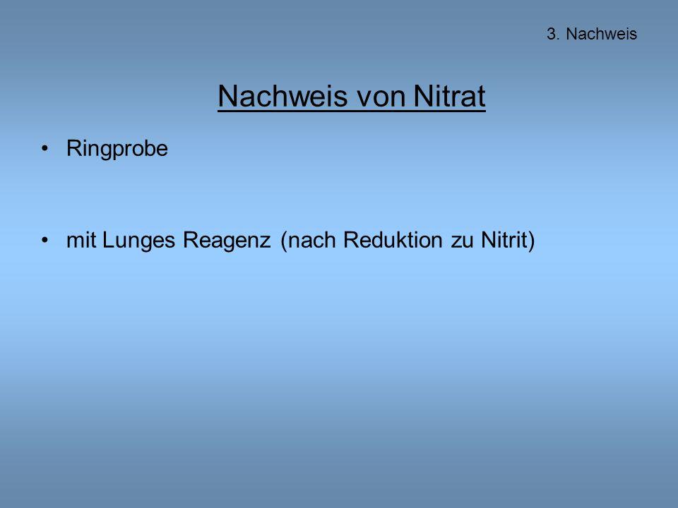 Nachweis von Nitrat Ringprobe