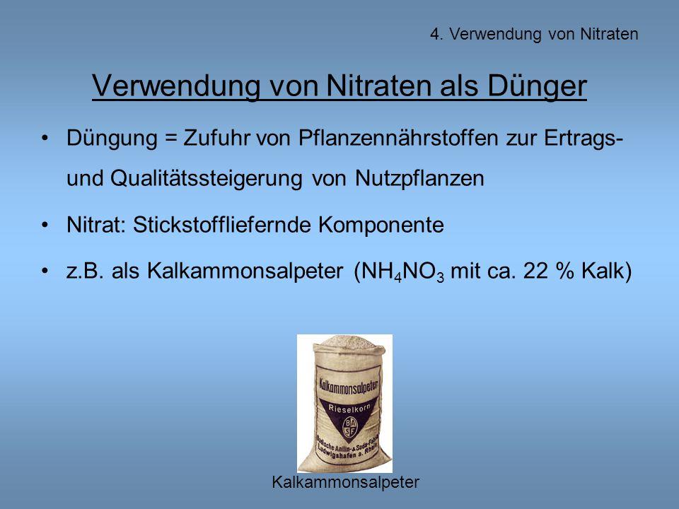 Verwendung von Nitraten als Dünger