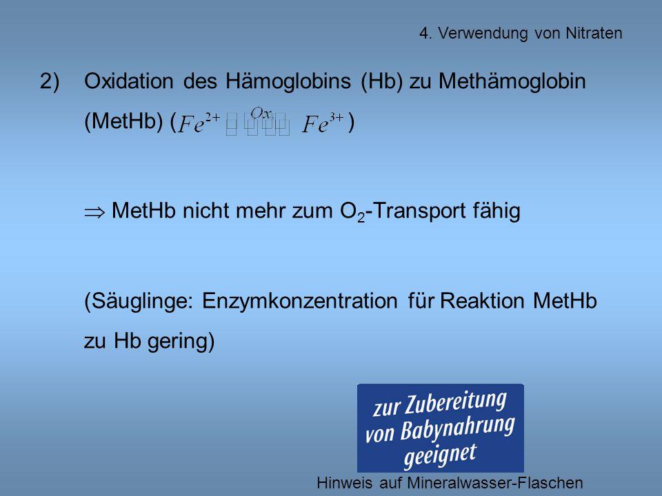 Oxidation des Hämoglobins (Hb) zu Methämoglobin (MetHb) ( )