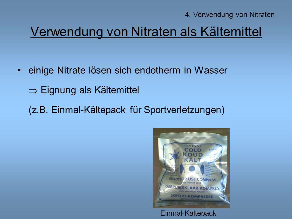 Verwendung von Nitraten als Kältemittel