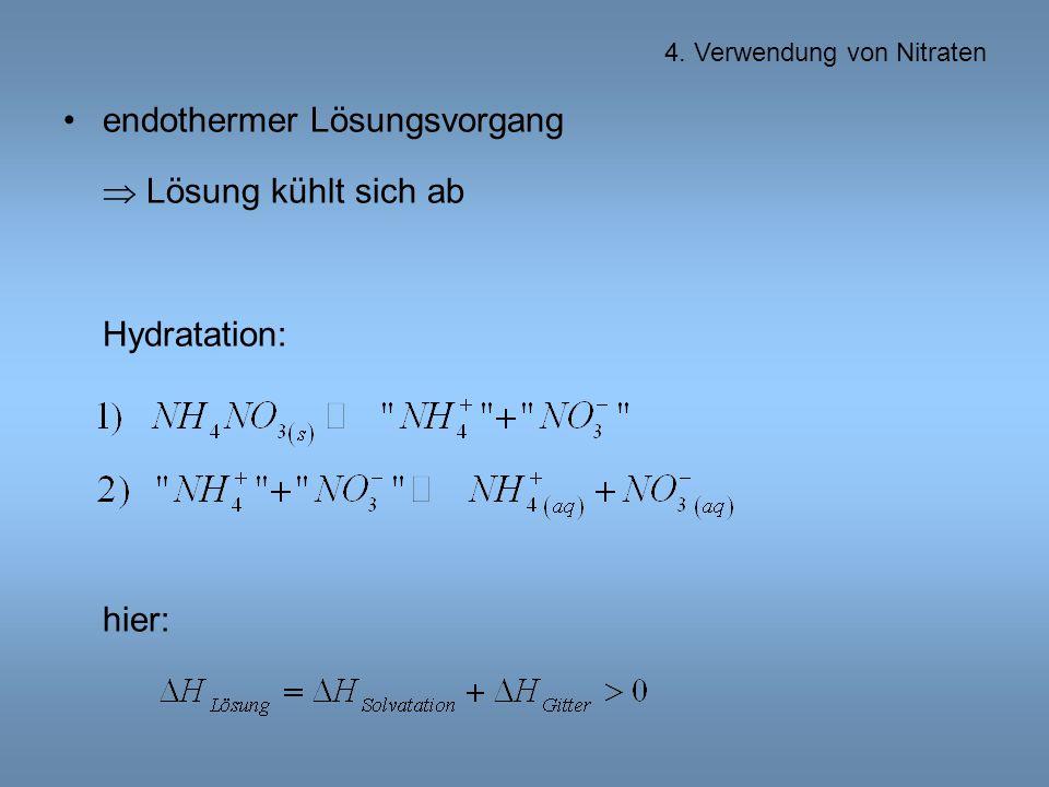 endothermer Lösungsvorgang  Lösung kühlt sich ab