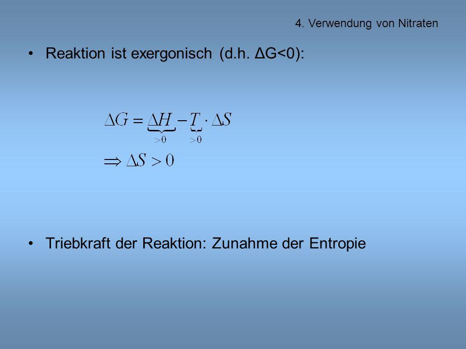 Reaktion ist exergonisch (d.h. ΔG<0):