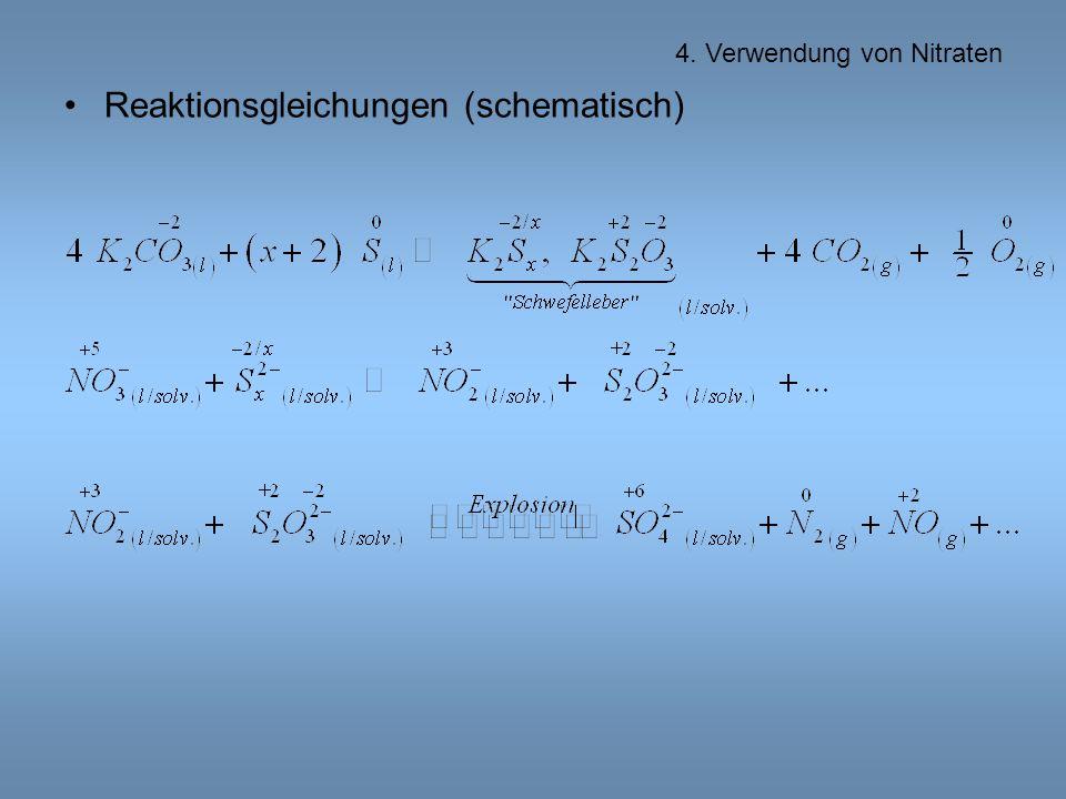 Reaktionsgleichungen (schematisch)