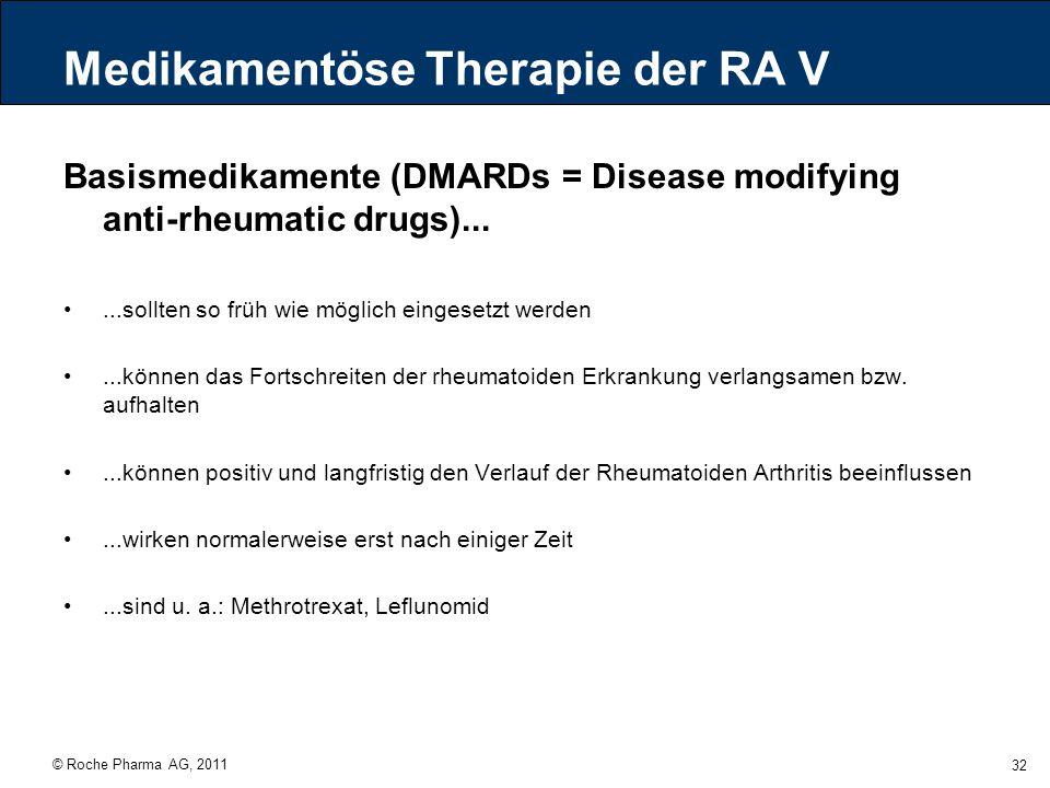 Medikamentöse Therapie der RA V