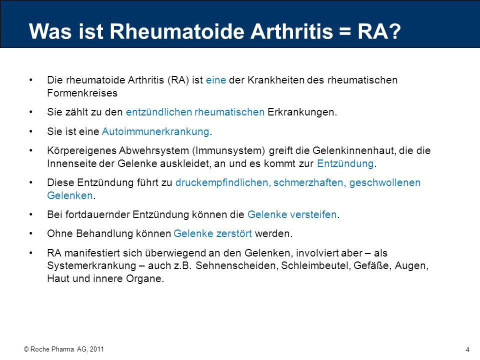 Was ist Rheumatoide Arthritis = RA