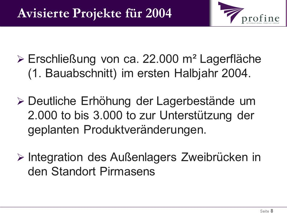 Avisierte Projekte für 2004