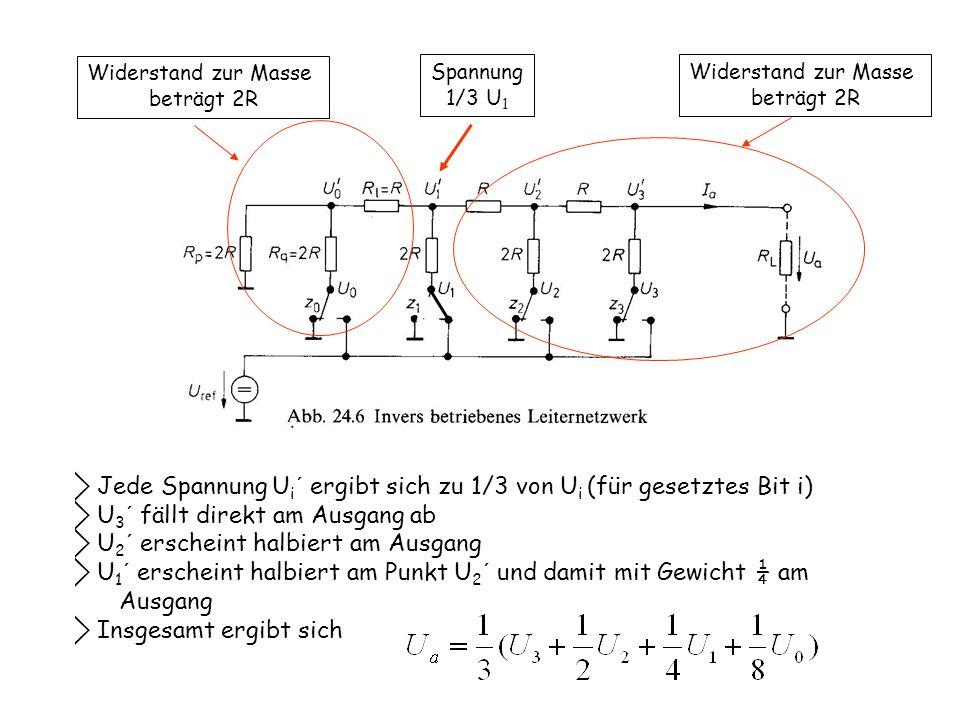 ⃟ Jede Spannung Ui´ ergibt sich zu 1/3 von Ui (für gesetztes Bit i)
