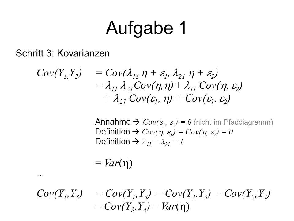 Aufgabe 1 Cov(Y1,Y2) = Cov(11  + 1, 21  + 2)
