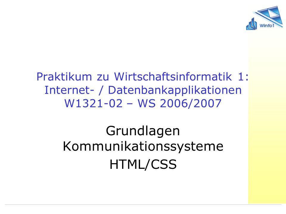Grundlagen Kommunikationssysteme HTML/CSS