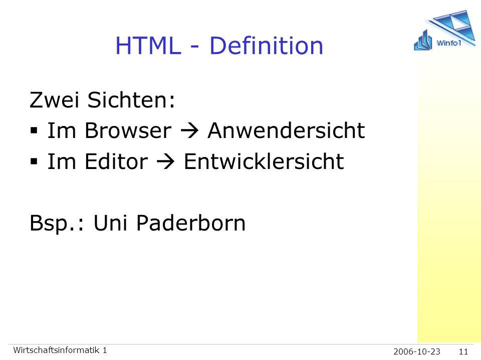 HTML - Definition Zwei Sichten: Im Browser  Anwendersicht