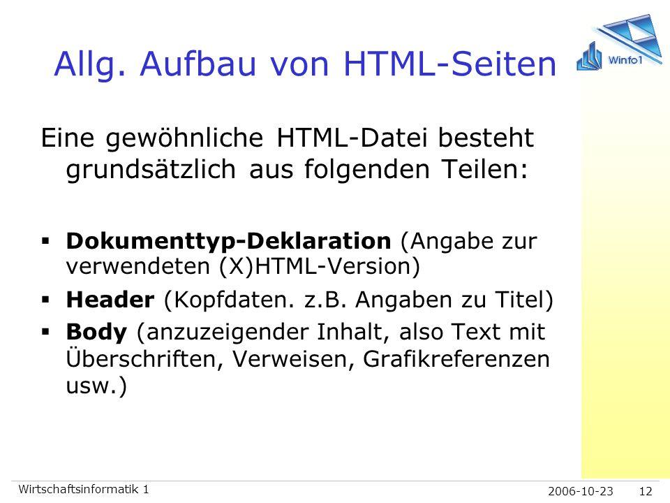 Allg. Aufbau von HTML-Seiten
