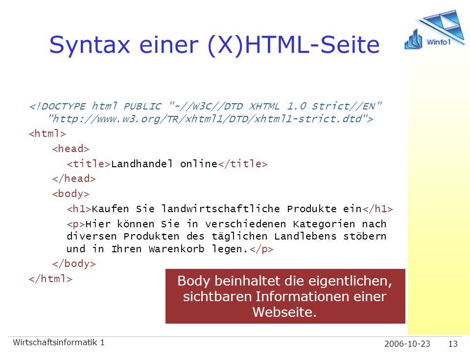 Syntax einer (X)HTML-Seite