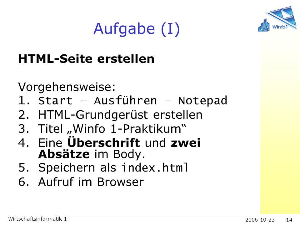 Aufgabe (I) HTML-Seite erstellen Vorgehensweise: