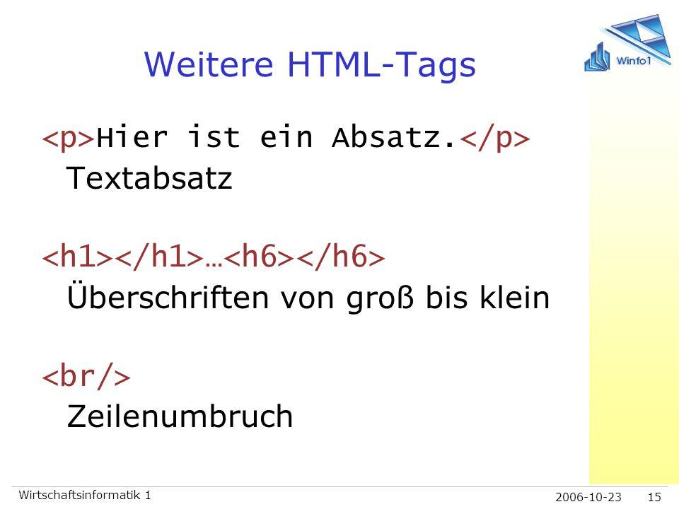 Weitere HTML-Tags <p>Hier ist ein Absatz.</p> Textabsatz