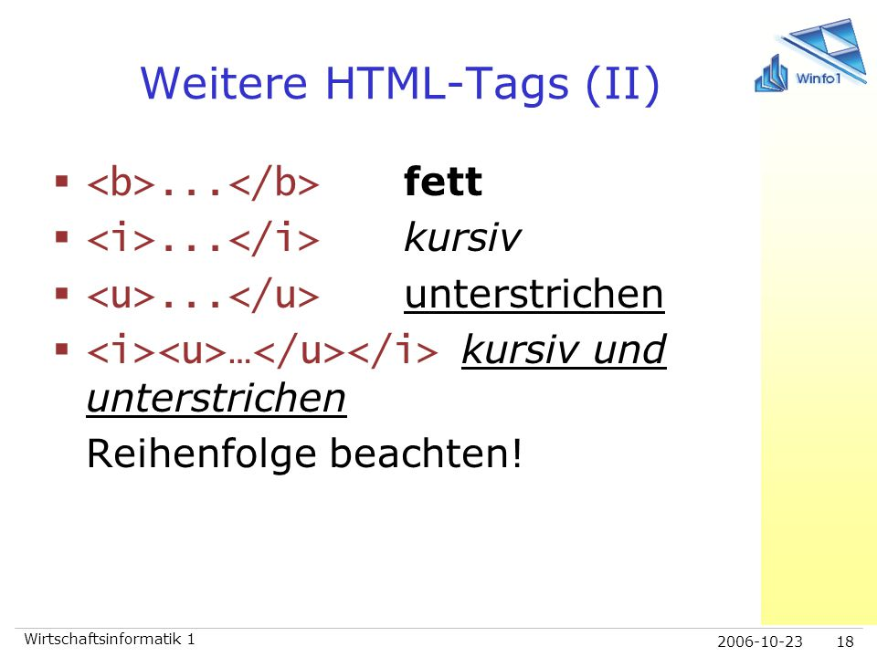Weitere HTML-Tags (II)