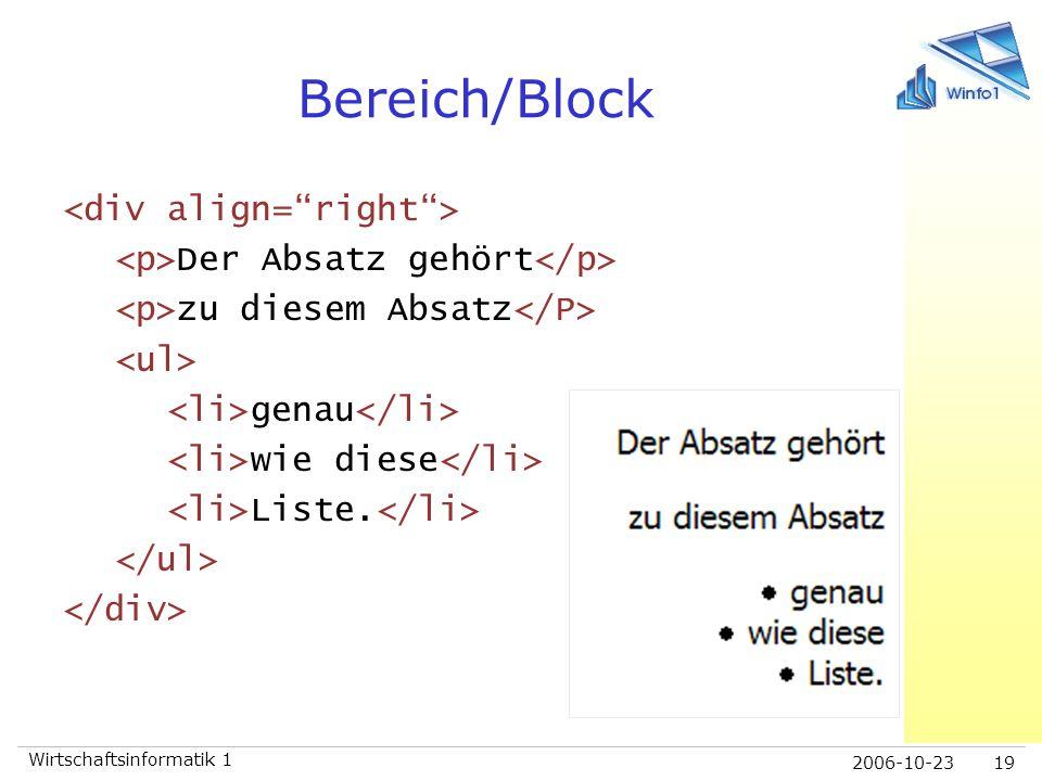 Bereich/Block <div align= right >