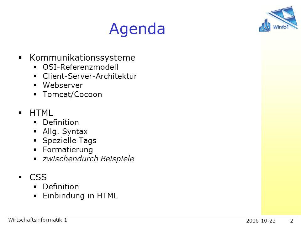 Agenda Kommunikationssysteme HTML CSS OSI-Referenzmodell