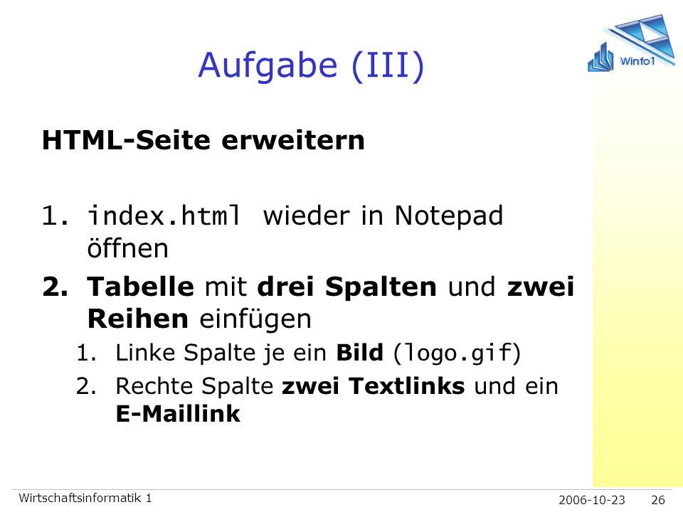 Aufgabe (III) HTML-Seite erweitern index.html wieder in Notepad öffnen
