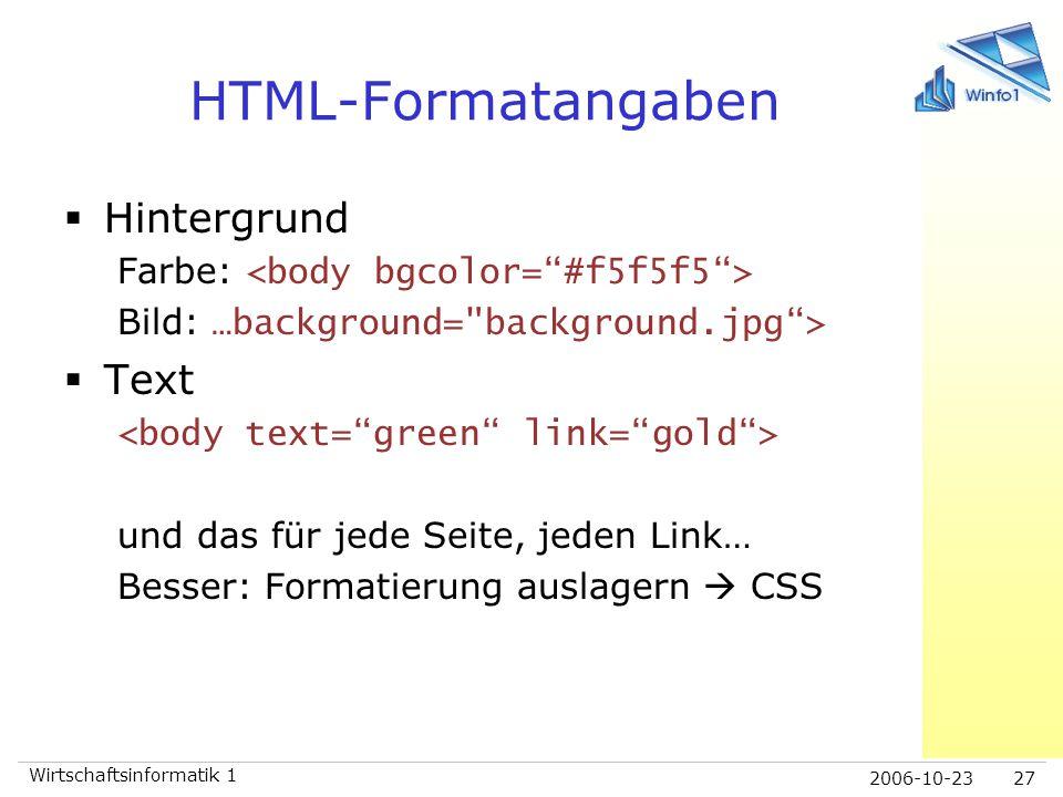 HTML-Formatangaben Hintergrund Text