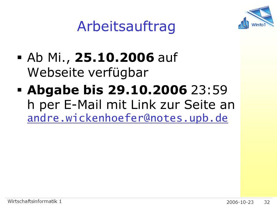 Arbeitsauftrag Ab Mi., 25.10.2006 auf Webseite verfügbar