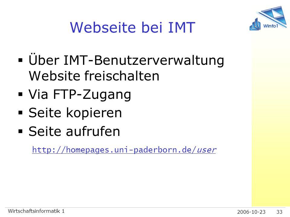 Webseite bei IMT Über IMT-Benutzerverwaltung Website freischalten