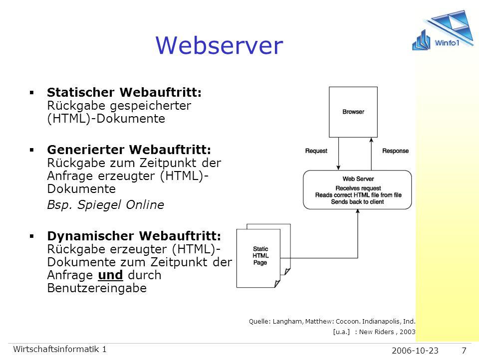 Webserver Statischer Webauftritt: Rückgabe gespeicherter (HTML)-Dokumente.