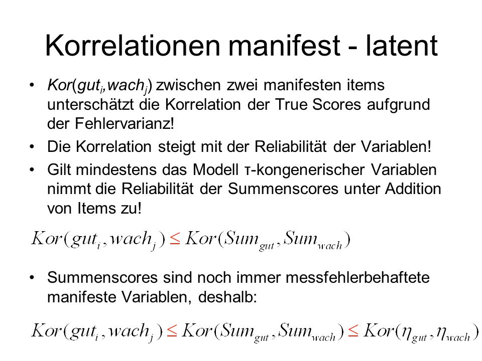 Korrelationen manifest - latent