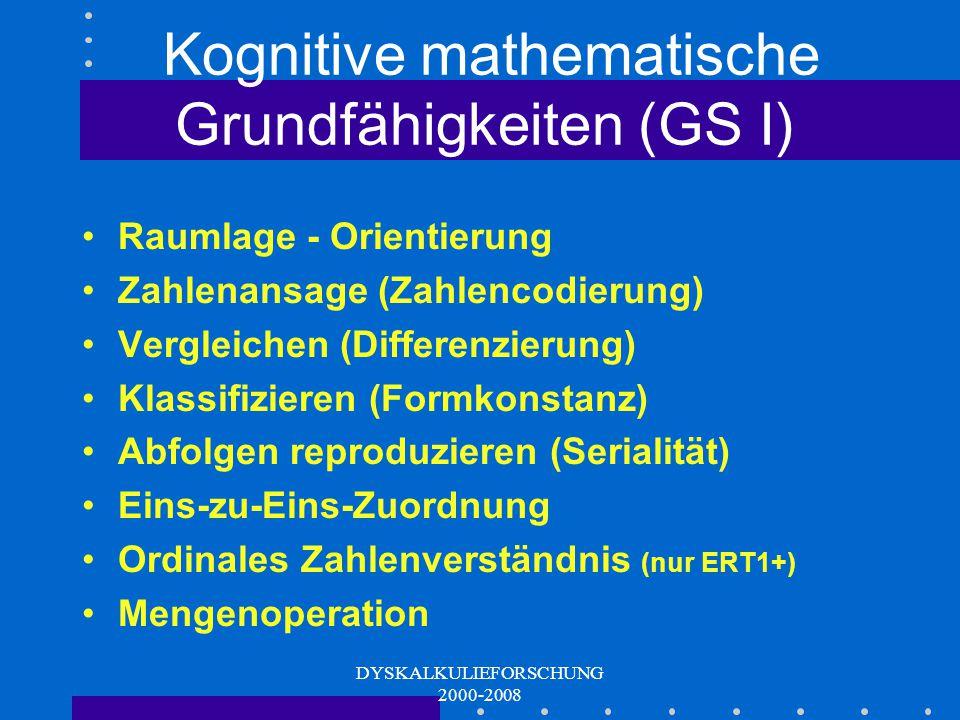 Kognitive mathematische Grundfähigkeiten (GS I)